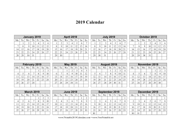 2019 Calendar on one page (horizontal week starts on Monday) Calendar