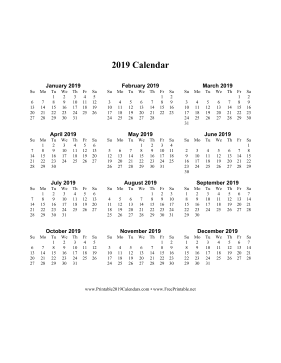 2019 Calendar on one page (vertical) Calendar