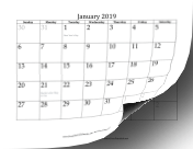 2019 with dates of adjacent months in gray calendar